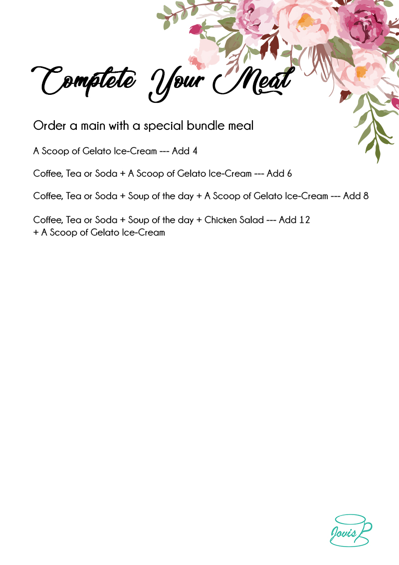 Jovis Food Delivery Menu - Complete your meal set meal