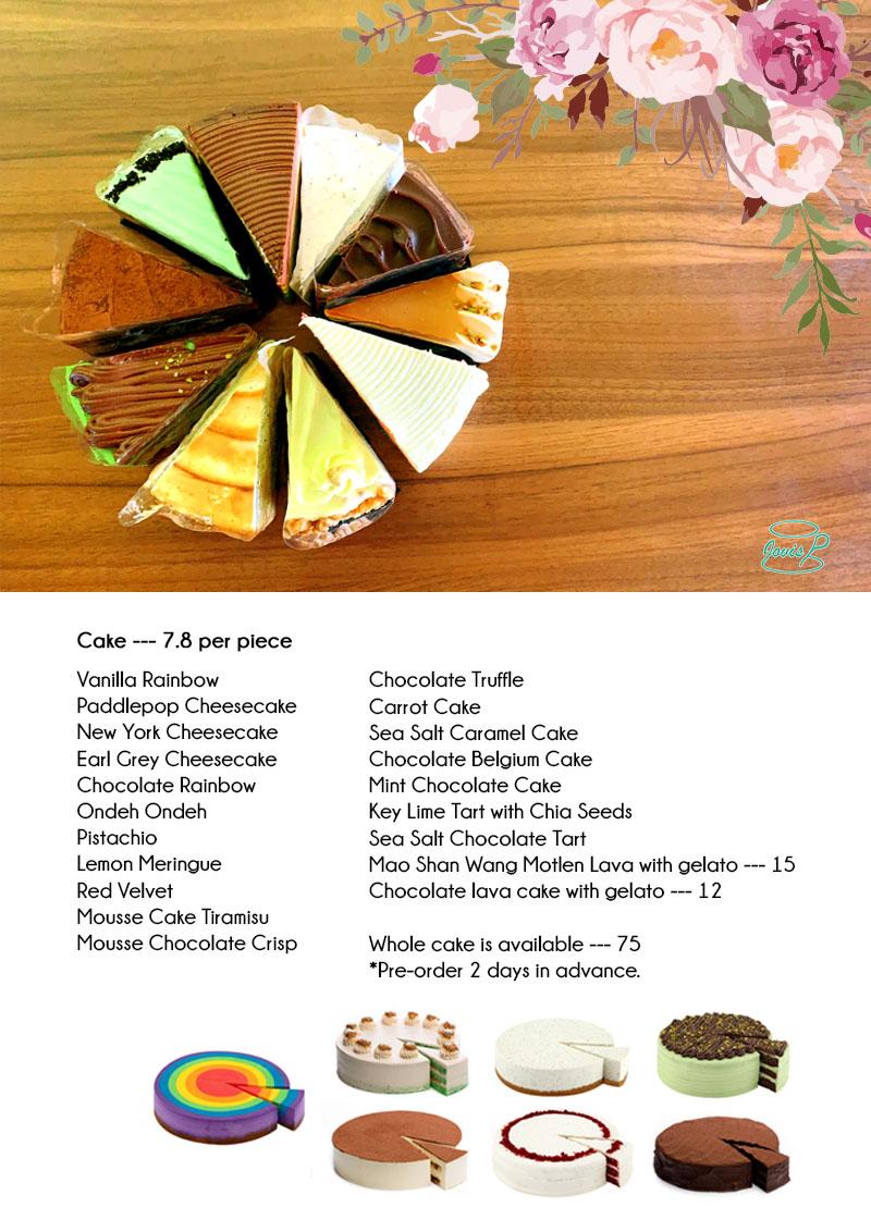 Jovis Food Delivery Menu - Cake Menu