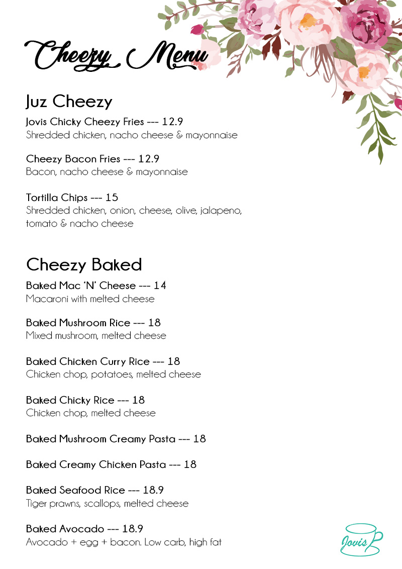 Jovis Food Delivery Menu - Cheezy Menu